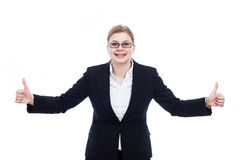 Businesswoman thumbs up Stock Image