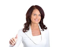 Businesswoman with thumbs up gesture royalty free stock photo
