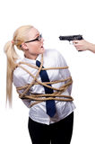 Businesswoman tied up with rope isolated Stock Photography