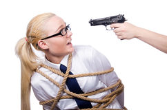Businesswoman tied up with rope isolated Royalty Free Stock Photo