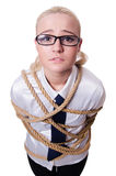 Businesswoman tied up with rope isolated Royalty Free Stock Photos