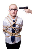 Businesswoman tied up with rope Stock Images