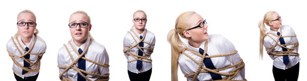 The businesswoman tied up with rope isolated on white Royalty Free Stock Image