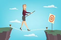 Businesswoman tightrope walker. Idea of risky and courage business Stock Photography