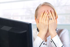 Businesswoman tired royalty free stock photo