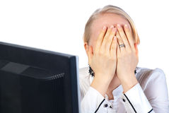 Businesswoman tired Stock Photography