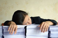 Businesswoman tired and exhausted Stock Image