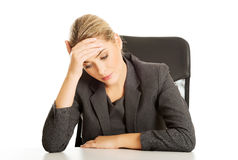 Businesswoman tired of work Royalty Free Stock Image