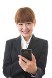 Businesswoman to see a smartphone. Young businesswoman to see a smartphone Royalty Free Stock Photos