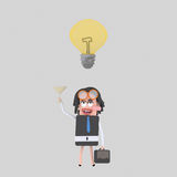 Businesswoman toasting with champagne for a good idea. 3D Stock Photography