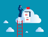 Businesswoman on top of ladder putting file in cloud  filing cab. Businesswoman standing  on ladder and putting file. Concept business data illustration. Vector Royalty Free Stock Photo