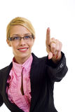 Businesswoman touch screen Stock Images
