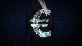 Businesswoman touched screen, Numerous dots gather to create a Euro currency sign, low-polygon web. stock footage
