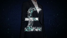 Businesswoman touched screen, Numerous dots gather to create a Pound currency sign, low-polygon web. stock footage