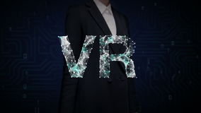 Businesswoman touched screen, Numerous dots gather to create a VR sign, Virtual Reality concept, low-polygon web. stock video