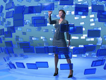 Businesswoman touching blue screen. Beautiful businesswoman touching blue screen stock photos