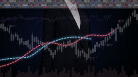 Businesswoman touching charts and Various animated Stock Market charts and graphs. increase market.