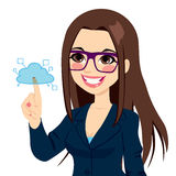 Businesswoman Touching Cloud Computing Stock Photo