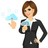 Businesswoman touching the cloud Royalty Free Stock Photos