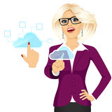 Businesswoman touching the cloud Royalty Free Stock Image
