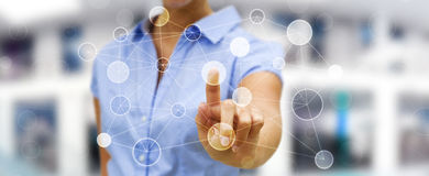 Businesswoman touching digital data network in his hand 3D rende. Businesswoman on blurred background touching circle digital data network with her finger 3D Stock Photography