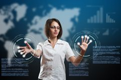 Businesswoman touching fingerprint scanner. On virtual interface, futuristic technology Royalty Free Stock Photography