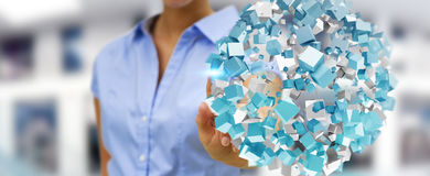 Businesswoman touching flying abstract sphere with shiny cube 3D. Businesswoman on blurred background touching flying abstract sphere with shiny cube 3D Stock Photography