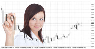 Businesswoman touching forex chart over white. Smiling businesswoman touching forex chart over white background. focus on hand Royalty Free Stock Photos