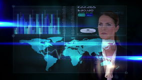 Businesswoman touching futuristic interface on black background stock video