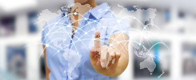 Businesswoman touching global network and data exchanges '3D r. Businesswoman touching global network and data exchanges over the world '3D rendering Stock Photos