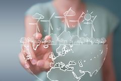 Businesswoman touching and holding renewable energy sketch. Businesswoman on blurred background touching and holding renewable energy sketch stock illustration