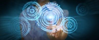 Businesswoman touching modern circle technology interface Stock Images