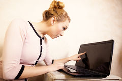Businesswoman touching screen computer laptop Stock Photo