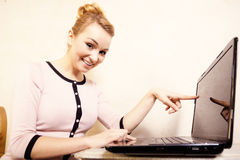 Businesswoman touching screen computer laptop Stock Image