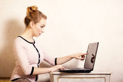 Businesswoman touching screen computer laptop Royalty Free Stock Images