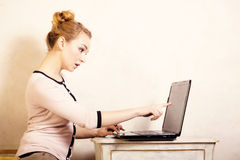 Businesswoman touching screen computer laptop Stock Photos