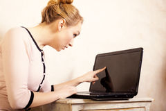 Businesswoman touching screen computer laptop Stock Photography