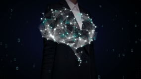 Businesswoman touching shape of Brain connect digital lines, expanding artificial intelligence 2. stock footage
