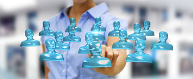 Businesswoman touching shiny glass avatar group 3D rendering Royalty Free Stock Images