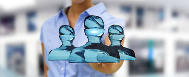 Businesswoman touching shiny glass avatar group 3D rendering Stock Photography