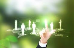 Businesswoman touching silhouette icon Stock Image