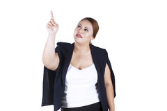 Businesswoman touching something Stock Images
