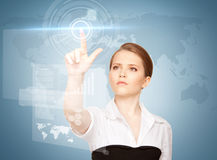 Businesswoman touching virtual screen Stock Photos