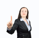 Businesswoman is touching the whiteboard Stock Images