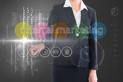 Businesswoman touching the words referral marketing on interface Royalty Free Stock Photos