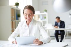 Businesswoman with touchpad Stock Photo
