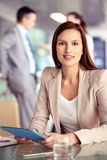 Businesswoman with touchpad Stock Photos
