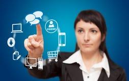 Businesswoman touchscreen interface. Royalty Free Stock Photos