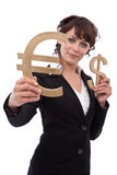Businesswoman trading with Euro and dollar Stock Image