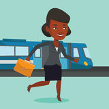 Businesswoman at train station vector illustration Royalty Free Stock Image
